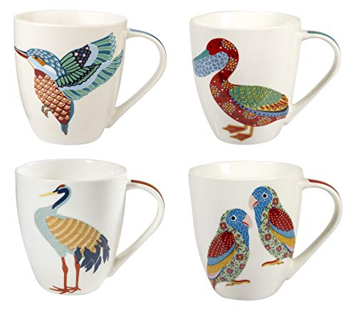 Churchill China Queens Paradise Birds Colourful Kingfisher Pelican Crane Love Birds Mug Cup Set of 4 500ml 16.9 fl oz