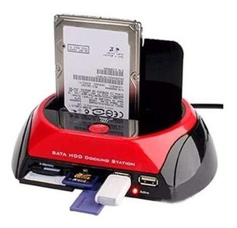 EVA-Y Base de Disco Duro de 2,5'/3,5', Dual SATA IDE HDD Docking Station USB 2.0 Hub