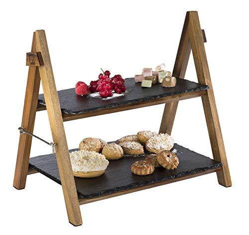 APS Serviergestell/ Etagere – 2-stufiges Gestell aus Akazienholz mit zwei Schieferplatten – zusammenklappbar, abwaschbar – auch für kalte Speisen und zum Kühlen geeignet