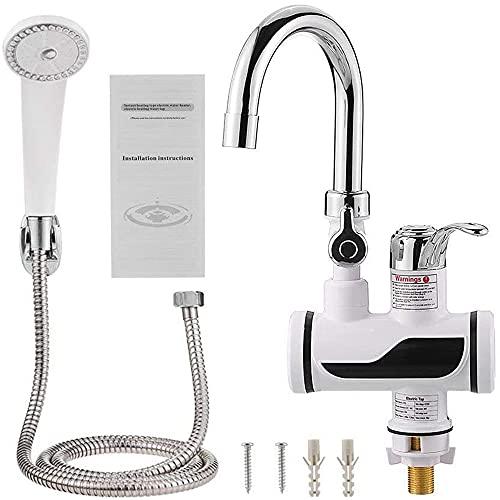 Monland Waschbecken Wasserhahn mit Abnehmbarer Dusche Elektrokopf und Instant Hot Water Cold LED mit Temperaturanzeige EU-Stecker
