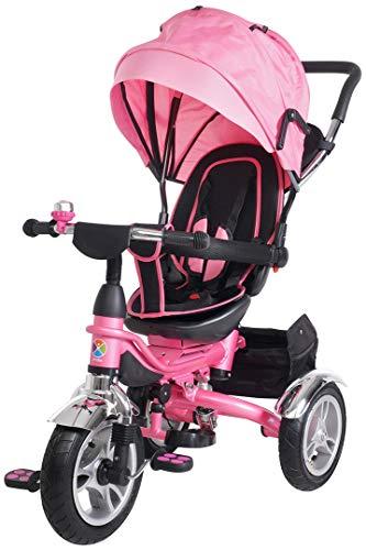Miweba Kinderdreirad Schieber 7 in 1 Kinderwagen - 360° Drehbar - Faltbar - Luftreifen - Heckfederung - Laufrad - Dreirad - Schubstange - Ab 1 Jahr (Pink)