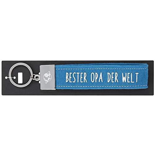 Depesche- Llavero con Trabillas de Fieltro, con Extremo de Metal Grabado y icónico Estampado, Color Azul, Aprox. 18,7 x 4,4 x 1 cm. (004298-095)