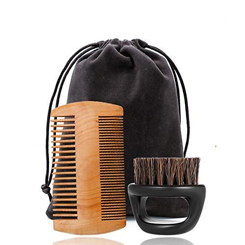 Peigne Barbe Bois Kit Léger Antistatique Brosse à Barbe Et Peigne Barbe Set Portable Peigne Cheveux Mini (Taille Unique, Multicolore)