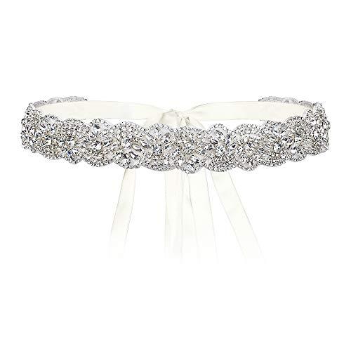 EVER FAITH Cinturón de novia para boda, banda de cristal para vestido de dama de honor, vestido de novia, vestido de baile, vestido de noche.