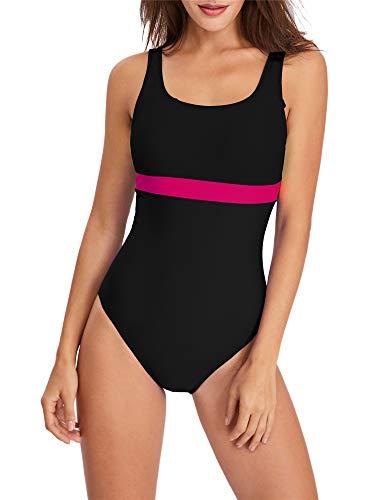 PANAX Pofessioneller Damen Schwimmanzug - Sportlicher Badeanzug mit herausnehmbaren und vorgeformten Softcups Schwarz, Größe XL