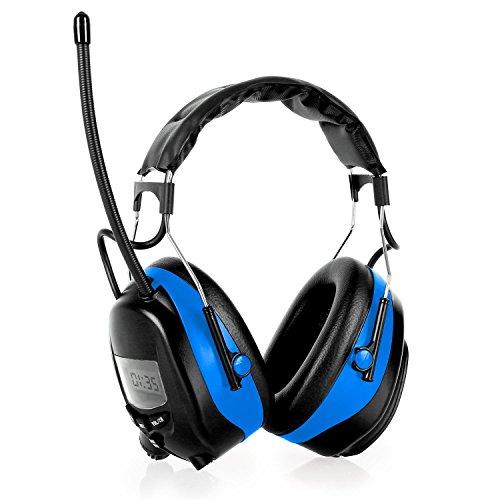 auna Jackhammer Baustellen-Kopfhörer schallisolierter Gehörschutz mit Radio für Baustelle und Rasen mähen (UKW/MW-Radio, MP3-Player- und Smartphone Anschluss, hoher schwarz-blau