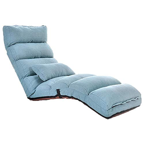 Lehrstuhl für Kinder und Erwachsene Home Einstellbare Falten Lazy Floor Sofa Stuhl Stilvolle Couch Betten Lounge Chair Pillow Relaxing Bed Seat Couch Lounger ( Farbe : Blau , Größe : 175cm*56cm*20cm )