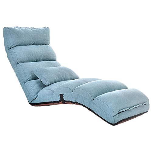 Lehrstuhl für Kinder und Erwachsene Home Einstellbare Falten Lazy Floor Sofa Stuhl Stilvolle Couch Betten Lounge Chair Pillow Relaxing Bed Seat Couch Lounger ( Farbe : Blau , Größe : 175cm*56cm*20cm )