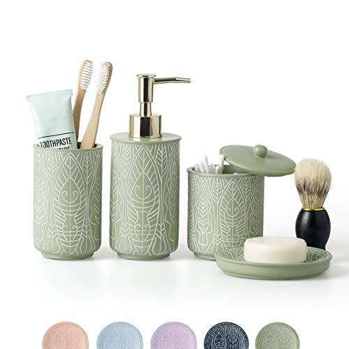 VIRTUNE Premium Pastel Green Bathroom Accessories Set. Green Bathroom Set. Boho Bathroom Decor....