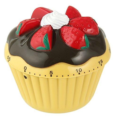 Zenker Kurzzeitwecker, Ø 70 mm Cupcake Patisserie, Küchenwecker aus robustem Kunststoff, Kurzzeitmesser im hübschen Cupcake design, Timer bis 60 min einstellbar, Farbe: Cupcake Design