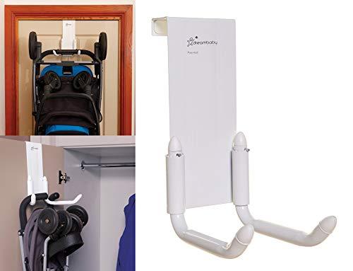 Dreambaby Strollerbuddy StrollAway Over The Door Baby Stroller Hanger – Heavy Duty Metal Hook Organizer with 50lbs Load Capacity – Model L256