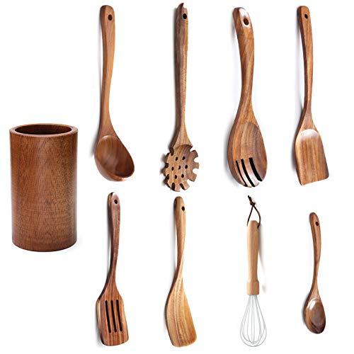 Juego de utensilios de cocina de madera de 9, utensilios de cocina de sartén antiadherente, Soporte para palillos, espátula, cuchara, batidor de huevos, etc, utensilios de cocina para el hogar.
