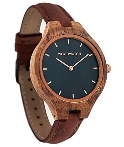 Marine Rose Pecan | WoodWatch Oficial | Hecha a Mano | Movimiento de Cuarzo japonés | Reloj Duradero y a Prueba de Salpicaduras con una Elegante Caja de Madera