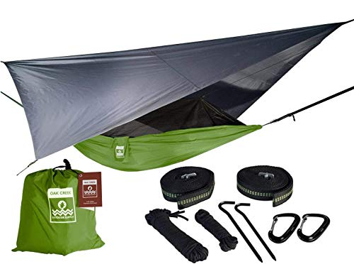 Oak Creek Camping Hammock and Accessories. Complete Package Includes Mosquito Net, Rain Fly, Tree...