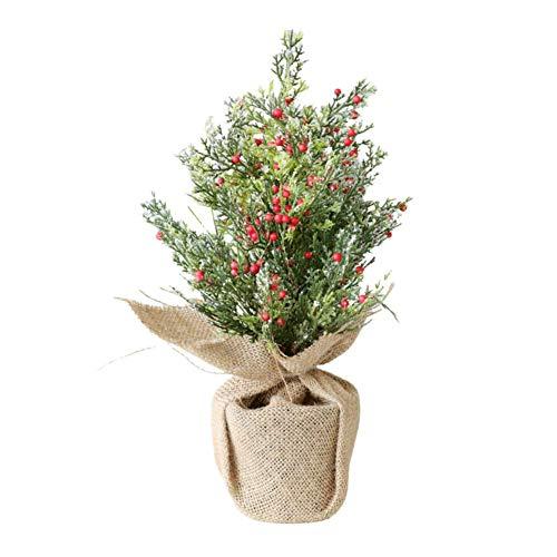 LDM Adornos para árboles de Navidad simulación de Escritorio Mini Frutos Rojos Nieve para mostrador, Familia, centros comerciales (Verde) 11.8in