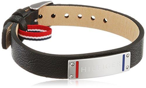 Tommy Hilfiger venden Herren 270067 Pulsera para hombre Casual cuero y acero inoxidable, Negro, 22.8 cm