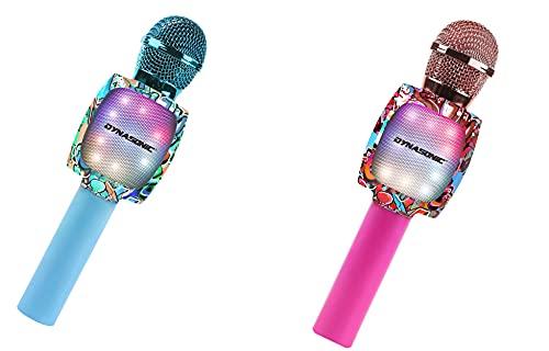 DYNASONIC Micrófono Karaoke Bluetooth, Juguetes para niños y niña Microfono Inalámbrico Karaoke Portátil con Luces LED para Niños, Regalos Originales niños (Pack 2 Micros)
