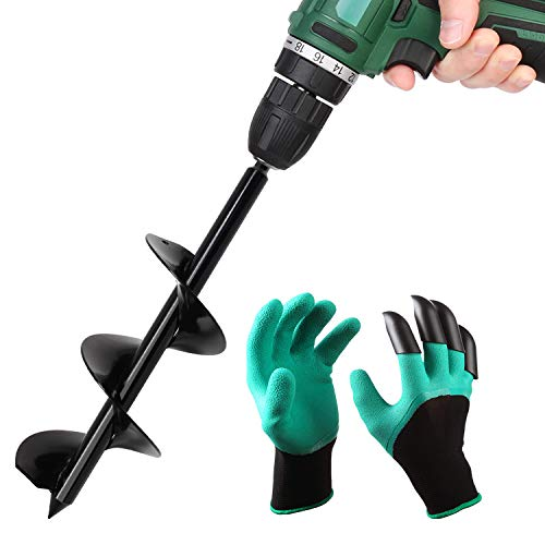 BLIKA Solid Shaft Auger Drill Bit for Planting, 3' x 12' Garden Plant Flower Bulb Auger with Garden Genie Gloves, Bulb & Bedding Plan Auger for 3/8' Hex Drive Drill