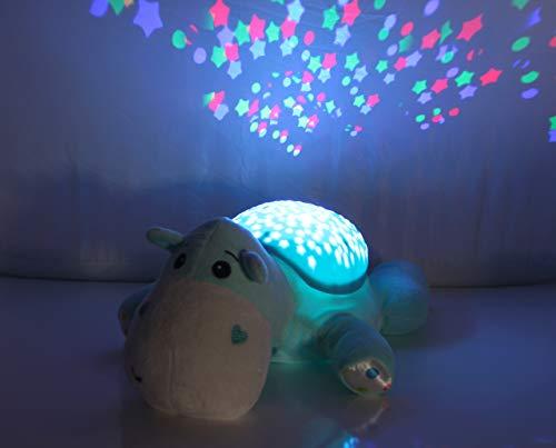JAMARA 460430 - Sternenlicht Dreamy Nilpferd Sternenhimmel Projektion, Stern-/ Mondmuster, LED wechselnde Farben, beruhigende Melodien, Licht EIN/aus, Abschaltautomatik, hellblau