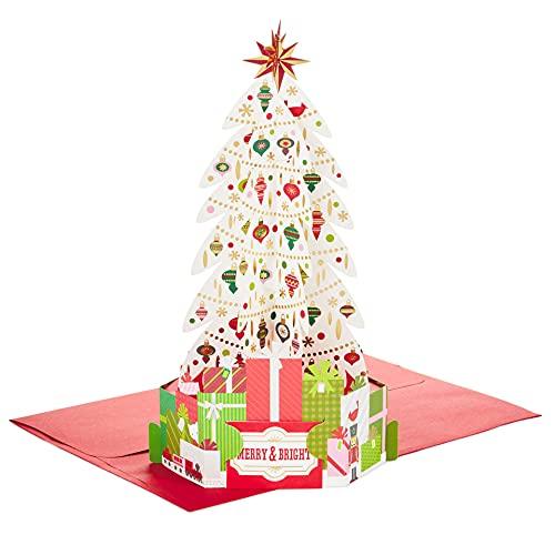 Hallmark Paper Wonder Pop Up Card - White Christmas Tree Merry & Bright
