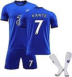 SXMY Juego de Uniformes de Fútbol para Adultos y Niños, Chelsea No. 7 Kanté Jersey de Fútbol, Camiseta del Fanático del Fútbol, Adecuado para la Competencia Y como (Size:28,Color:Azul)