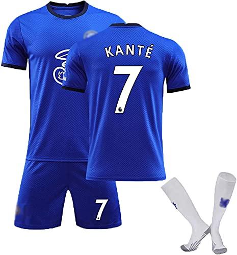 SXMY Juego de Uniformes de Fútbol para Adultos y Niños, Chelsea No. 7 Kanté Jersey de Fútbol, Camiseta del Fanático del Fútbol, Adecuado para la Competencia Y como (Size:Small,Color:Blue)
