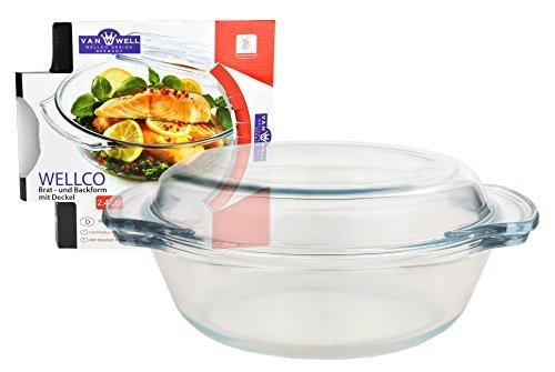 Van Well Plat à rôtir et plat avec couvercle, verre, rond, 2,4 l, Ø env. 23 cm, casserole de cuisine