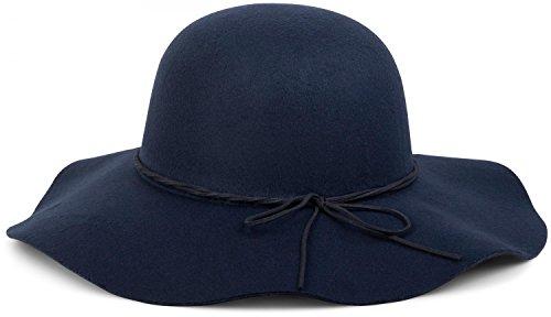 styleBREAKER Floppy Fedora Filzhut mit schmalem Zierband und Schleife aus Filz, Hut, Damen 04025008, Farbe:Dunkelblau