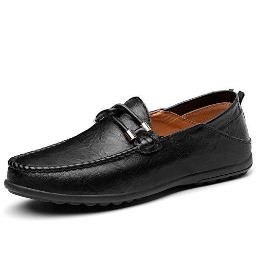 YANGFAN Zapatos de Cuero, Zapatos Casuales, Trabajo, al ai Mocasines, Mocasines, Zapatos de Madera Maciza y tamaño máximo 47 (Color : Black, Size : 46EU)