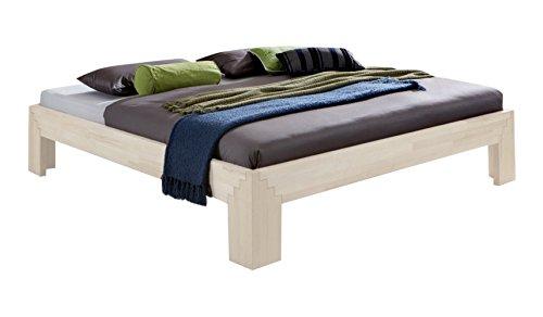 Unbekannt Massivholz-Bett Selina weiß 180 x 200 cm aus Kernbuche, Holzbett, als Doppel- und Jugend-Bett verwendbar, inkl. Stecksystem, 1 Bett á 180 x 200 cm