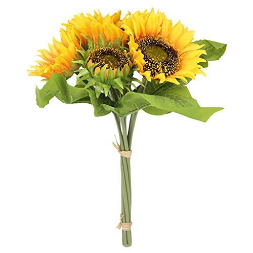 Hunpta @ Künstliche Blumen Sonnenblumen, 1 Strauß 7 Köpfe Kunstblumen DIY Blumenarrangement für Haus Büro Balkon Garten Hochzeit Party Valentinstag Dekoration
