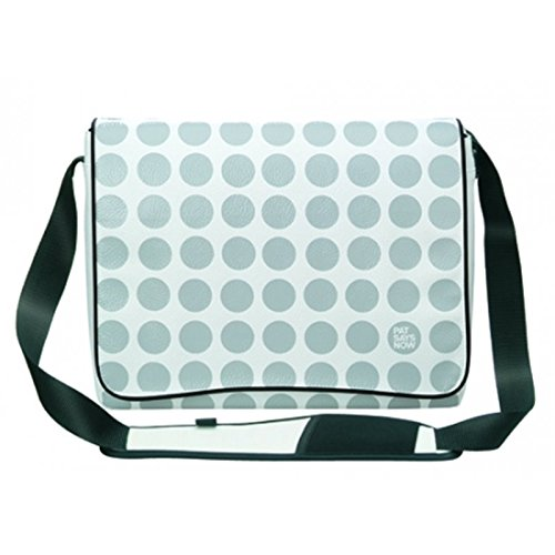 "Pat Says Now White Polka Dot Carrier 13.4"" Sac Messenger Blanc - Sacoches d'ordinateurs Portables (Sac Messenger, 34 cm (13.4""), Sangle épaule, Blanc)"