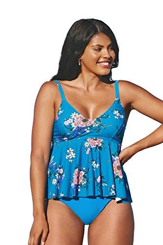 CUPSHE Women's High Waist V Neck Tankini Plus Size Swimsuit Floral Print Bathing Suit 4X Blue