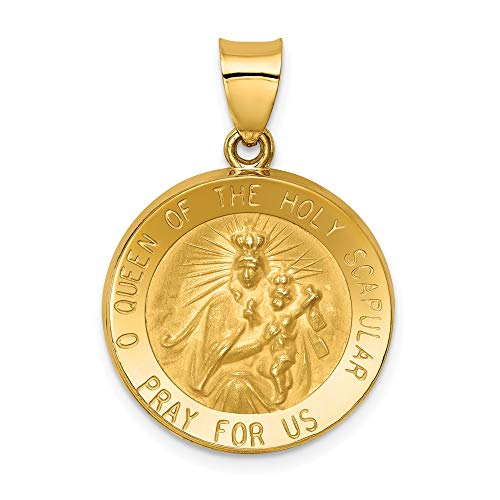 14k Yellow Gold Queen Of The Holy Scapular Reversible Medal Pendant Charm Necklace Religious Fine Jewelry For Women Gifts For Her