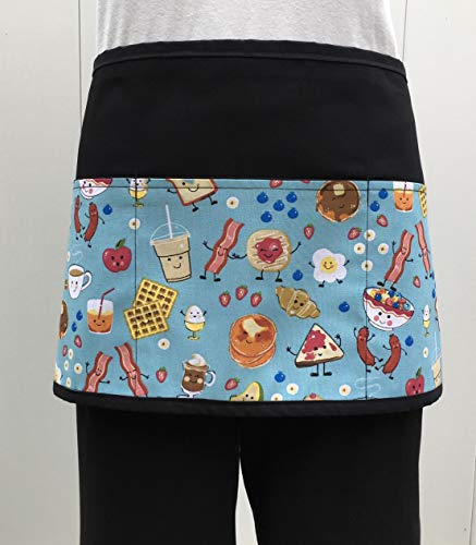 Waitress waiter or server, breakfast, eggs, pancakes, Waffles, Bacon, Design apron 3 pocket black half waist apron restaurants check out 300 More prints @ (Handmade Janets Aprons)