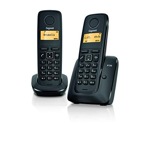 Gigaset A120 Duo Teléfono Inalámbrico, Agenda de 50 Contactos, Pantalla Iluminada, Negro, Pack de 2 Unidades