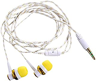 Semoic H-168 3.5mm in-Ear Braided Wired subwoofer earplug Insulated Sports Music Headphones(Yellow)