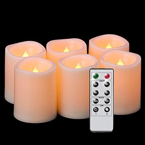 Eldnacele Velas votivas parpadeantes sin llama, funciona con pilas, con control remoto, luz blanca cálida, realista, juego de 6 velas LED para decoración de fiestas (pilas incluidas)