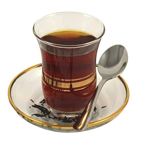 Topkapi - 18-TLG Türkisches Tee-Set Leyla-Sultan mit Golddekor, 6 Teegläser, 6 Untersetzer, 6 Teelöffel, Transparent mit Golddekor, 18-teilig
