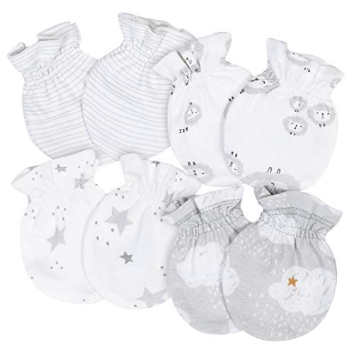 Gerber Baby 4-Pair Mittens, Lamb/Clouds White, 0-3 Months