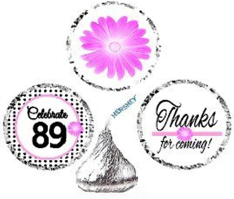 CakeSupplyShop Item 089BPH 89th Birthday   Anniversary Pink Black Polka Dot Party Favor Hersheys Kisses Candy Decoration Stickers   Labels 216ct