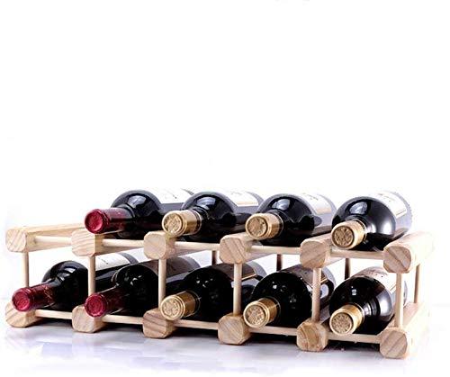Estante de vino colgante, estante de copa de vino Estante de vino de madera maciza, se puede ensamblar Estante de exhibición Decoración de estante de vino de botellas múltiples de pino (Color: C)