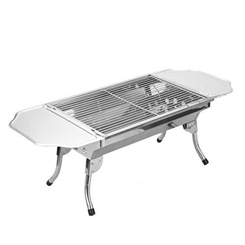 TY&WJ Acier inoxydable Plein air Barbecues à charbon,Pliable Grill Repas en plein air Bbq Pour Camping Randonnée Barbecues Outil Frits et grillés Double usage-A 48*33.5*29cm