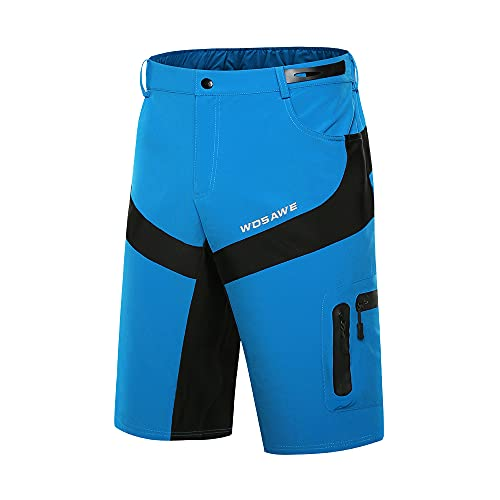 WOSAWE Pantalones de ciclismo para hombre,  transpirables,  para bicicleta de montaña,  con acolchado 3D opcional. Azul Sin Calzoncillos Acolchados XL