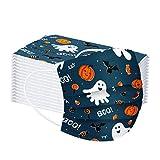 Mundschutz Multifunktionstuch Einweg Gesicht Bandanas für Erwachsene Kinder Atmungsaktiv Halloween Gesichtsbekleidung mit lustigem Muster Gesichtsschutz Mund Nasen Motiv Halstuch Schals(A1,50PCS)