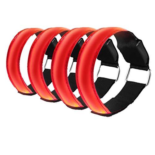 Alviller 4 Stück LED Armband, Reflective LED leucht Armbänder Lichtband Kinder Nacht Sicherheits Licht für Laufen Joggen Hundewandern Running und andere Outdoor Sports (Rot)