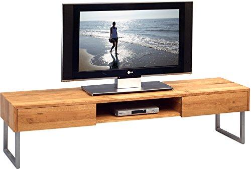 HomeTrends4you 353922 TV-Möbel / TV-Bank / Lowboard Tessa 2, Echtholz Wildeiche massiv geölt, Gestell Edelstahl, 160x40cm, Höhe 40cm