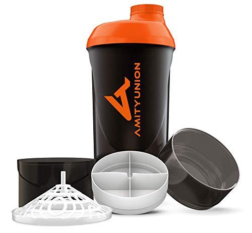 Protein Shaker Deluxe 700 ml - Eiweiß Shaker auslaufsicher - BPA frei mit Sieb & Skala für Cremige Whey Proteinpulver Shakes - Gym Fitness Flasche Becher für Isolate, Konzentrate Schwarz Orange Cup