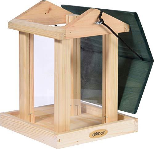 dobar 90040FSCe Futterspender Vogelfutterhaus aus Holz für Wildvögel, 21 x 21 x 28 cm, grün - 3