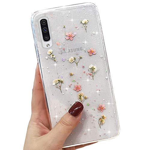 L-FADNUT Clear Case for Samsung Galaxy S21 Ultra Cute Dried Flowers Sparkle Stars Glitter Silicone Case Girls Pressed Floral Shockproof Case for Samsung Galaxy S21 Ultra 5G Pink